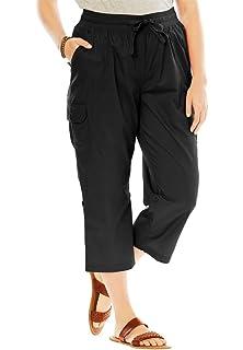 8f5a10f5ede Woman Within Plus Size Convertible-Length Cotton Cargo Capri Pants - Black