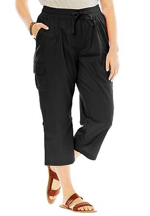 Woman Within Plus Size Convertible-Length Cotton Cargo Capri Pants - Black,  18 W