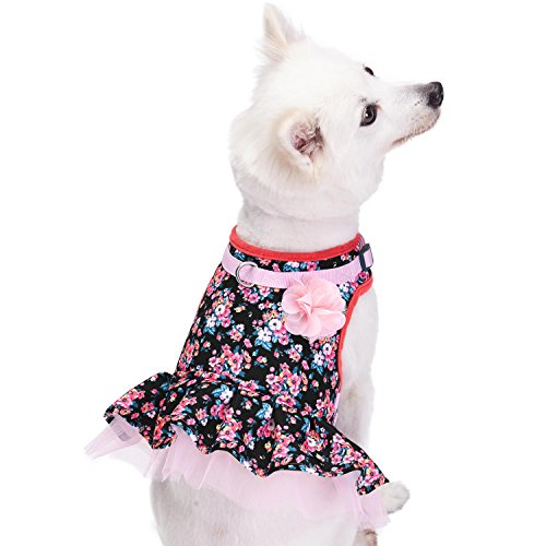 Blueberry Pet New Soft & Comfy Easter Spring Made Well Elegant Floral No Pull Mesh Puppy Dog Costume Harness Dress in Sleek Black, Chest Girth 14