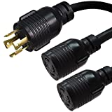 NEMA L14-30P to 2X L14-30R Y Splitter Cord - 10 Foot, 30A, 125/250V, 10 AWG - Iron Box # IBX-2162-10
