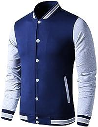 c4874267e053 Mens Lightweight Varsity Jacket Button Down Baseball College Letterman  Jacket