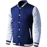 LTIFONE Mens Lightweight Varsity Jacket Button Down Baseball College Letterman Jacket