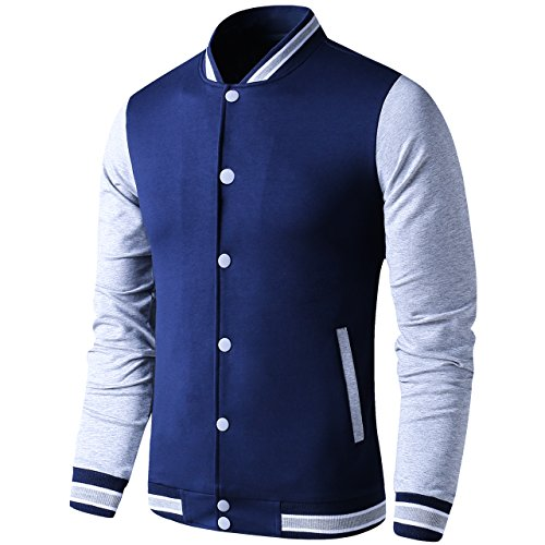 LTIFONE Mens Lightweight Varsity Jacket Button Down Baseball College Letterman Jacket(Blue,M)