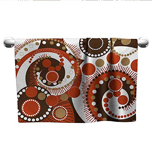 (alisoso Geometric,Gym Towel Retro Colors Abstract Spiral Dots and Lines Modern Waves Artwork Hotel Pool Towels Vermilion Caramel Brown W 24