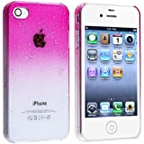 Insten Snap-on Case compatible with Apple iPhone 4 / 4S , Clear Hot Pink Waterdrop Ultra Thin