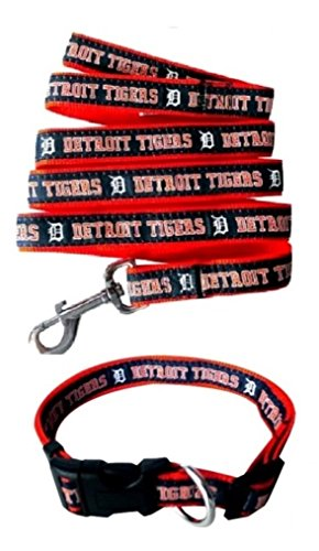 Pets First Detroit Tigers Nylon Collar and Matching Leash for Pets (MLB Official Size Large