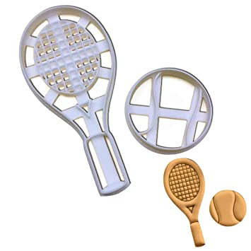 Amazon Com Set Of Tennis Racket And Ball Cookie Cutters 2 Pcs