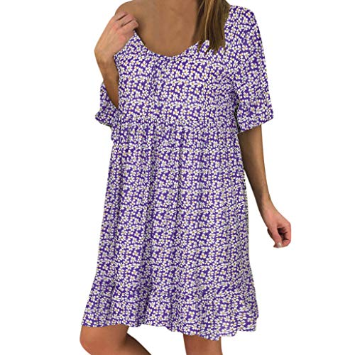 Toimothcn Women's Casual Dress Short Sleeves V Neck Dot Printed Loose Fit Ruffle Mini Dresses(Purple,XXXL) ()