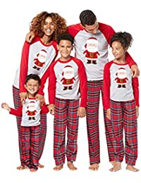 family matching christmas pajamas santa claus print 2pcs pjs sets long sleeve t shirt