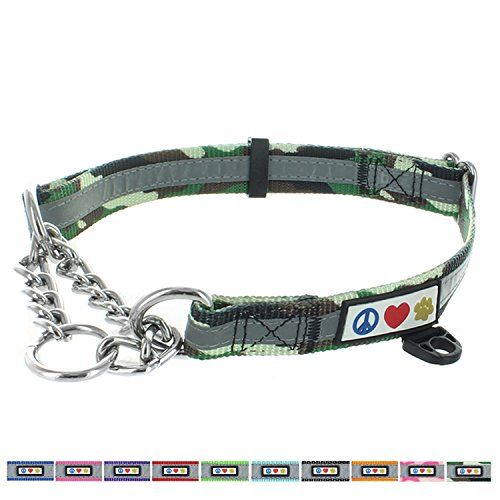 Pawtitas Chain Martingale Dog Collar Puppy Collar Reflective Dog Collar Training Dog Collar Behavioral Dog Chain Collar Collar Medium Dog Collar Camouflage Green Dog Collar