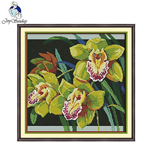 Ochoos Orchids Cross Stitch Ornament Patterns Chinese Cross Stitch Kits for Embroidery Needlepoint Set for Home Decoration - (Cross Stitch Fabric CT Number: 14CT Stamped ()