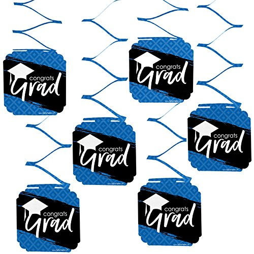 Blue Grad - Best is Yet to Come - Royal Blue Graduation Party Hanging Decorations - 6 Count