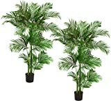 TWO Pre-Potted 5' Artificial King Areca Palm Trees