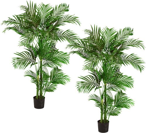 TWO Pre-Potted 5' Artificial King Areca Palm Trees by Arcadia Silk Plantation