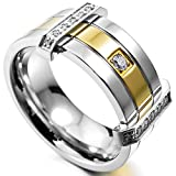 INBLUE Men's Stainless Steel Ring Band CZ Silver Gold Tone Wedding Size10