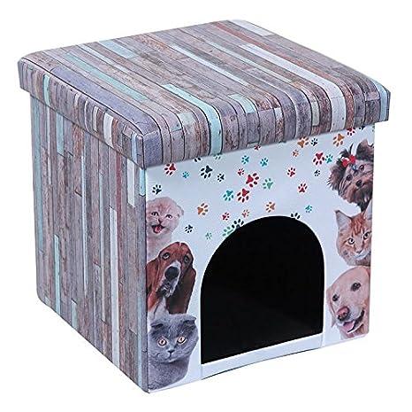 La Vida en Led Caseta Perro Gato Puff Asiento Desmontable Plegable (Estampado)