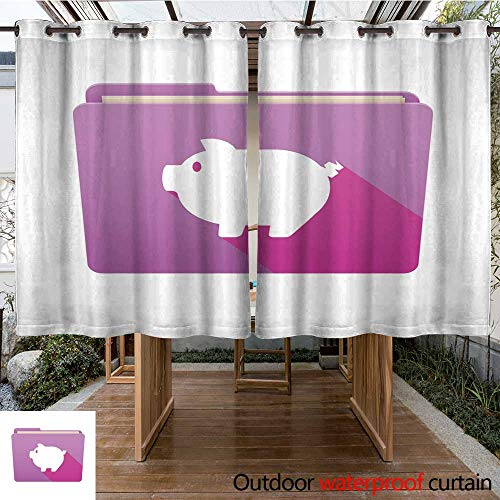 (RenteriaDecor Home Patio Outdoor Curtain Folder icon with a Pig W96 x L72)