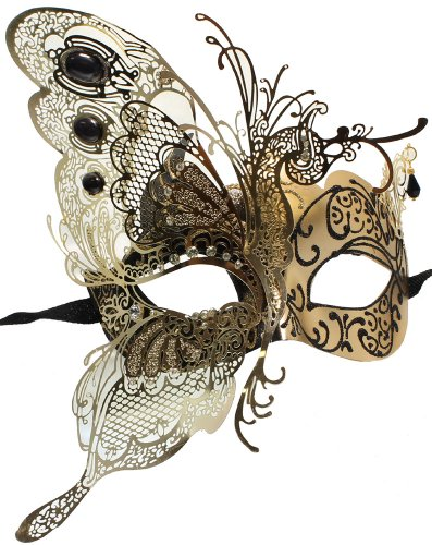[RedSkyTrader Womens Dragon Metal Mask One Size Fits Most Black Gold] (Butterfly Costume For Men)