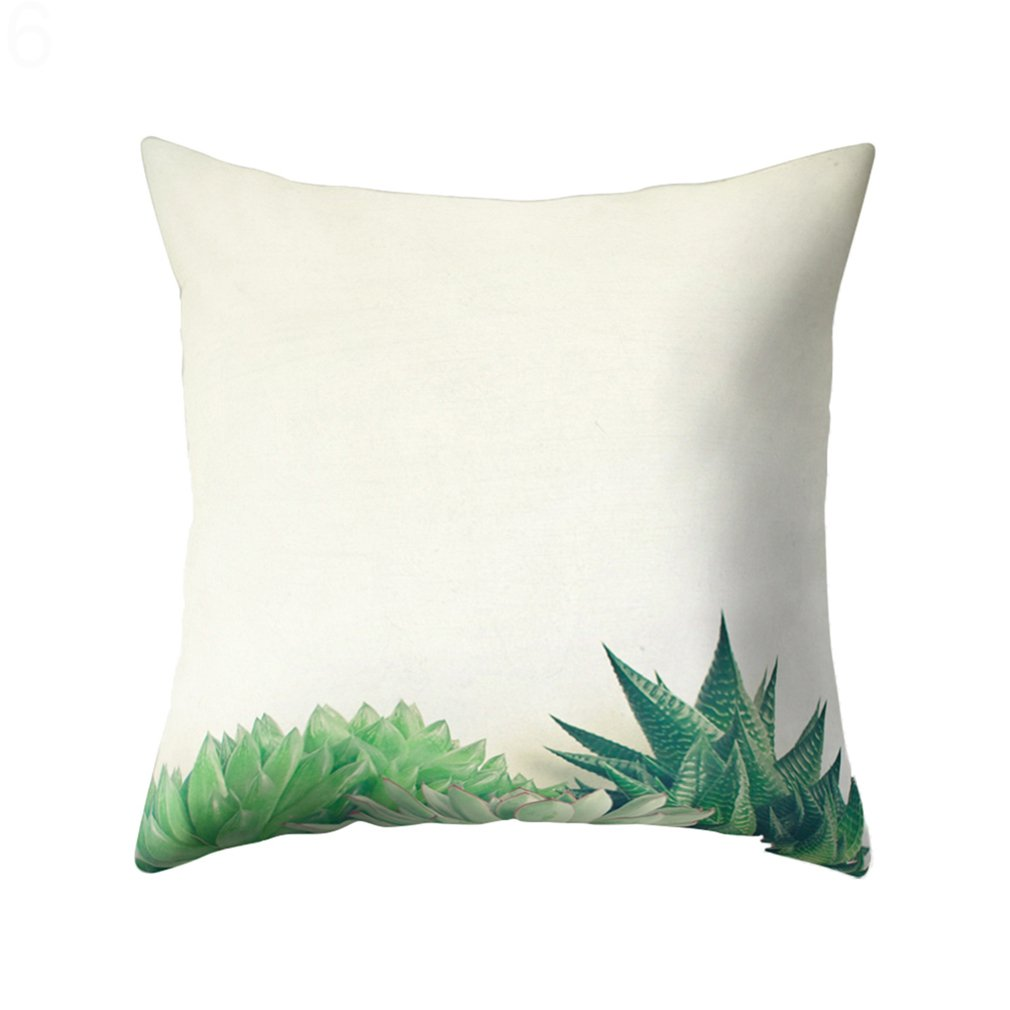 Bodhi2000 Succulents Plants Pattern Pillow Case Cushion Cover Home Sofa Decor, 18 X 18 Inch