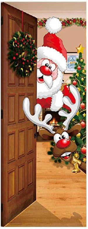 1 Conjunto De Puerta De Navidad Engomada De La Decoración Del Reno ...