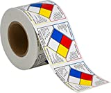 Brady 53070 Pressure Sensitive Vinyl Write On Right-To-Know NFPA Classification Diamond Roll Labels , Black,  Red,  Blue,  Yellow On White,  4'' Height x 4'' Width  (500 Labels per Roll, 1 Roll per Package)