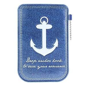 Patrón Denim Pocket protección PU Funda de piel para iPhone 4/4S y otros