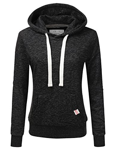 NINEXIS Womens Long Sleeve Fleece Pullover Hoodie Sweatshirts MARLEDBLACK M