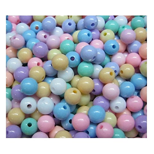 Lot of 150pcs Acrylic Round Beads 8 mm Assorted Color Mix Plastic Pastel Beads Bracelet Kawaii Rainbow Necklace Jewelry Making Craft Kits Kids diy