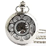 Zxcvlina Classic Smooth Retro Hollow Pocket Watch Unisex Carved Round Mechanical Pocket Watch with Chain Suitable for Gift Giving