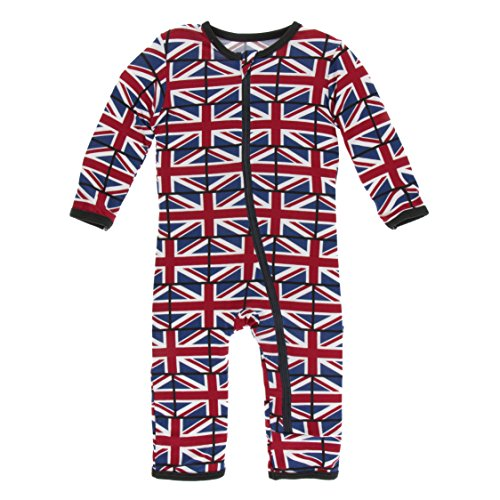 Kickee Pants Little Boys Print Coverall with Zipper - Union Jack, 2T