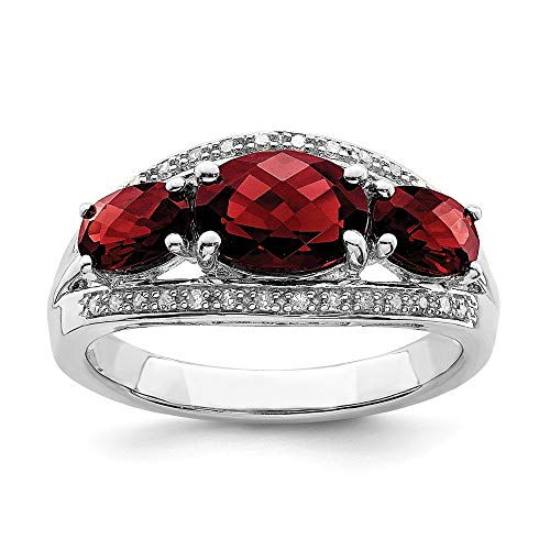925 Sterling Silver Diamond Red Garnet Band Ring Size 6.00 Gemstone Fine Jewelry Gifts For Women For Her ()