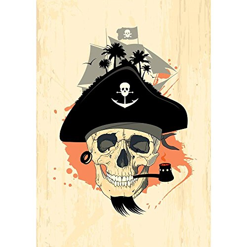 ArtzFolio Pirate Design With Ghost Skull Unframed Premium Canvas Painting 24 x 33.9inch