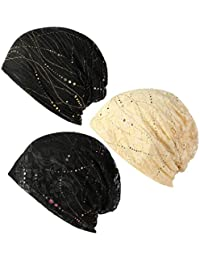 LOLIAS 3 Pack Women's Cotton Beanie Chemo Caps Lightweight Lace Turban Slouchy Soft Sleep Hat