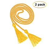#10: eborder 2 Piece Gold Honor Cord Graduation Tassel for Leadership Students Graduating from School College,68 inch