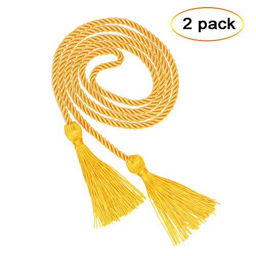 eborder 2 Piece Honor Cord Graduation Tassel for Leadership Students Graduating from School College,68 inch (Gold)
