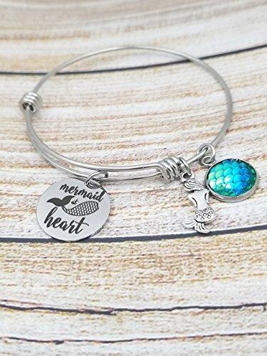 (Mermaid at Heart Customizable Expandable Bangle Charm Bracelet, beach jewelry, mermaid, ariel)