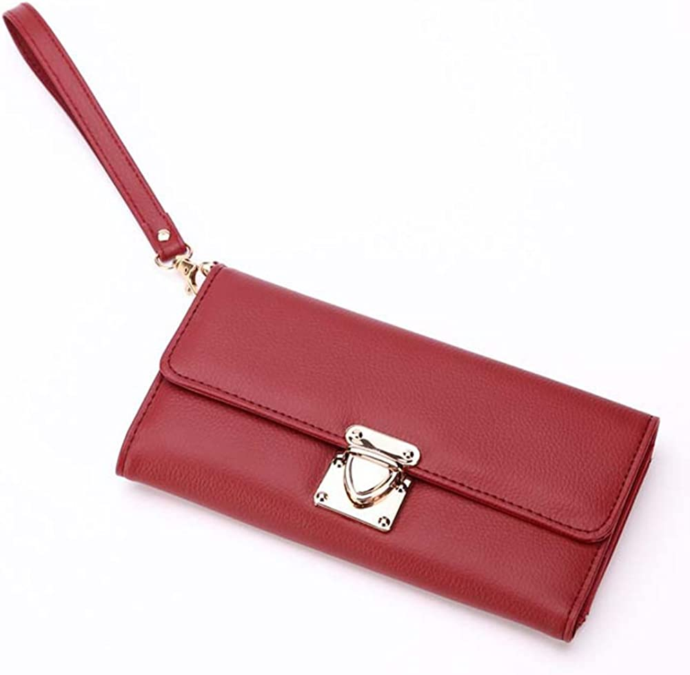 Dds5391 Casual Fashion Solid Color Faux Leather Women Girl Purse Card Cash Holder Long Wallet Black