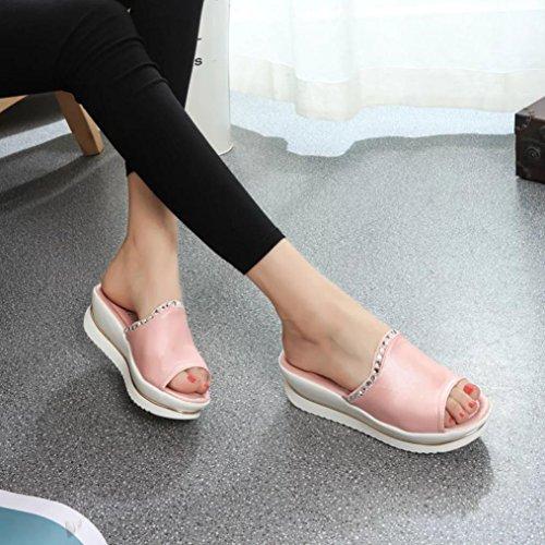 Mujer Chanclas, Malloom Zapatillas De Mujer Ocio Peces Boca Sandalias Grueso Inferior Rosa