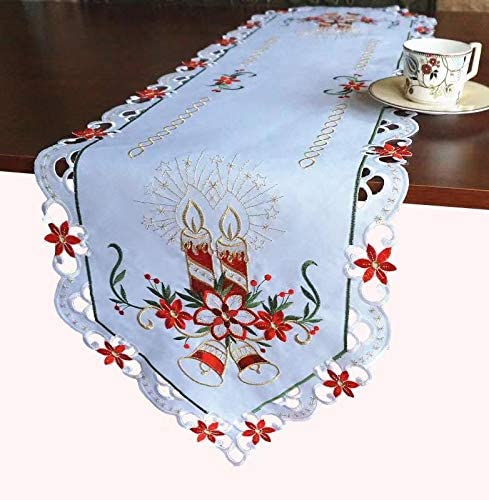 CREAM CANDLE EMBROIDERED POLYESTER SMALL SQUARE FESTIVE CHRISTMAS TABLE CLOTH
