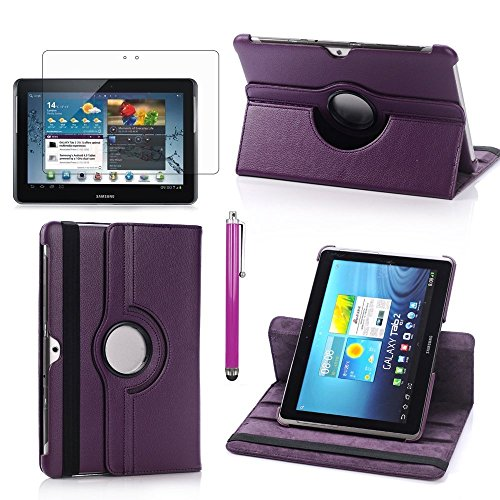 Samsung Tab 2 Case,Flying Horse Lichee Pattern 360 Degrees Rotating Stand PU Leather Case for Samsung Galaxy Tab 2 10.1 P5100 Auto Sleep/Wake Tablet With Screen Protector and Stylus (Purple) (2 Galaxy Stylus Samsung)
