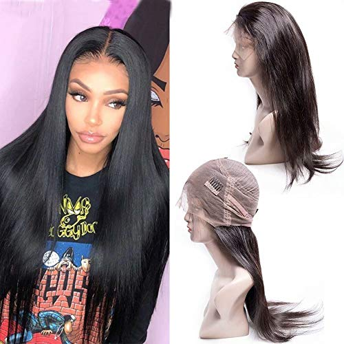 Maxine Hair 360 Lace Frontal Wig Straight Wave Human Hair Wigs-Glueless Brazilian Virgin Hiar Wigs with Baby Hair 130% Density Medium Size(20