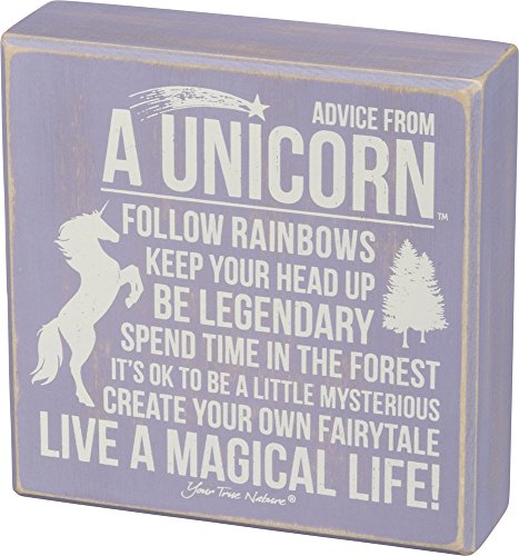 Primitives by Kathy Distressed Lavender and White Box Sign, Advice from A Unicorn -