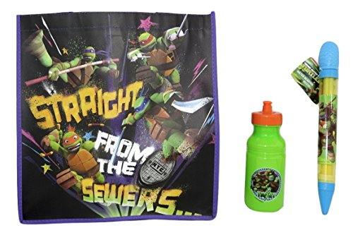 Teenage Mutant Ninja Turtles TMNT Water Blaster, Pull-top Bottle, and Reusable Tote Bundle Su-25 (Teenage Mutant Ninja Turtles Van)
