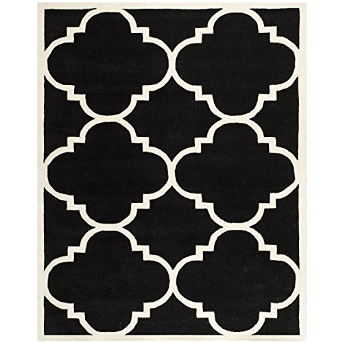 Safavieh Chatham Collection CHT730K Handmade Black and Ivory Premium Wool Area Rug (8′ x 10′)