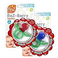 RaZbaby RaZ-Berry Mordedor de silicona /Paquete doble Rojo y azul /Diseño multi-textura /Diseño manos libres