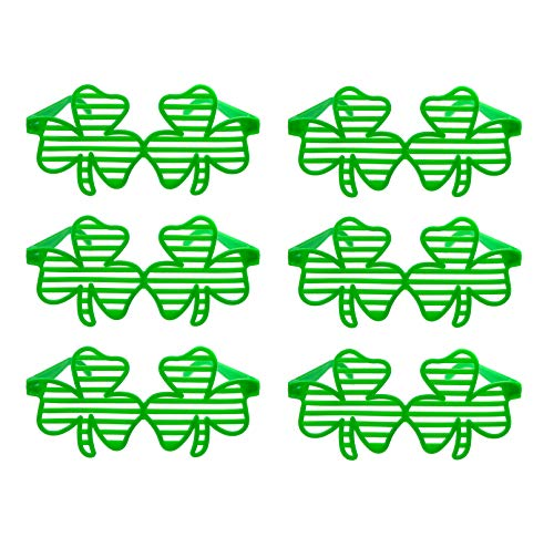 CCINEE 6pcs Green Clover Plastic Eyeglasses Shamrock Shutter Sunglasses St.Patrick's Day Costume Party Accessory for Festival Holiday Party Decoration