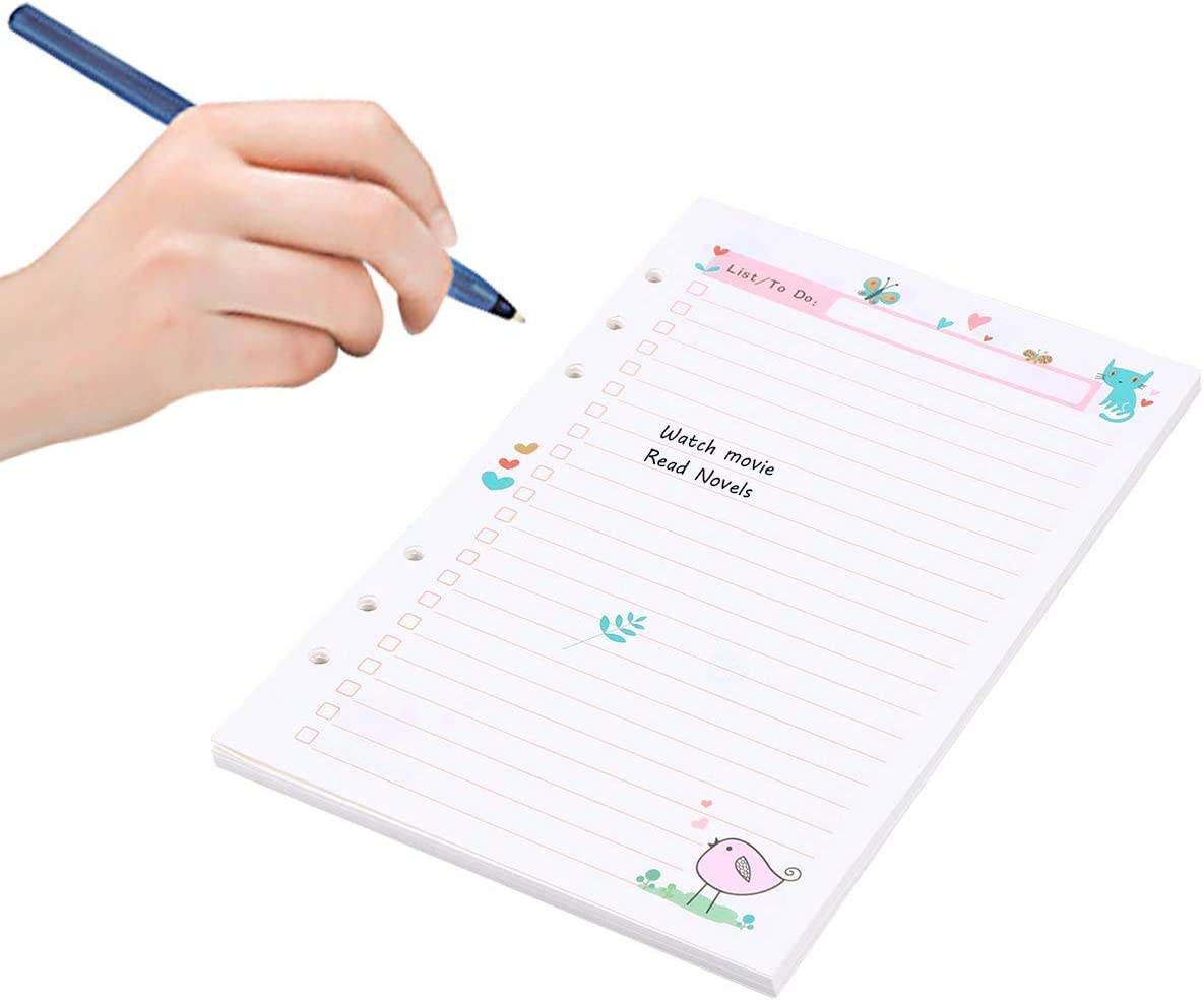 NUOBESTY 1PC Colorful A5 Size 6 Holes Loose Leaf Paper Filler Paper Refills for Spiral Notebook Planner Notepad TODO Plan Pattern