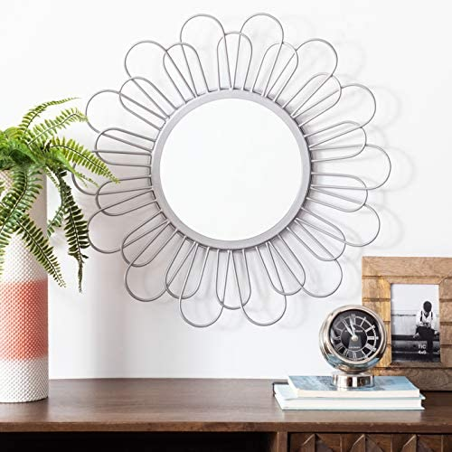 Safavieh Home Lorence Silver Flower 23-inch Decorative Accent Mirror