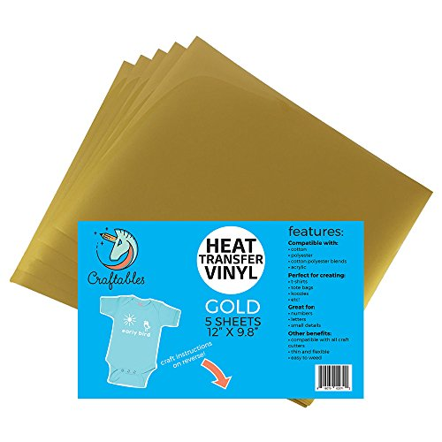 (5) 12 x 9.8 Sheets of Craftables Gold Heat Transfer Vinyl HTV - Easy to Weed Tshirt Iron on Vinyl for Silhouette Cameo, Cricut, All Craft Cutters. Ships Flat, Guaranteed Size