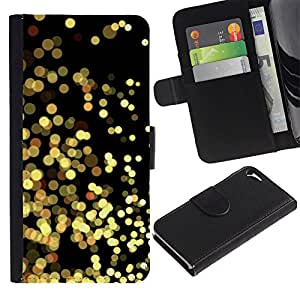 For Apple iPhone 5 / iPhone 5S,S-type® Yellow Lights Gold Sparkling Black - Dibujo PU billetera de cuero Funda Case Caso de la piel de la bolsa protectora